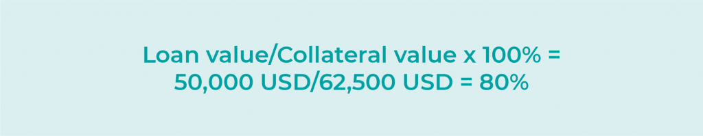 Loan value/Collateral value x 100% = 50,000 USD/62,500 USD = 80%