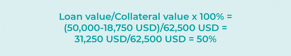 Loan value/Collateral value x 100% = 50,000 USD/(62,500+37,500 USD) = 50,000 USD/100,000 USD = 50%